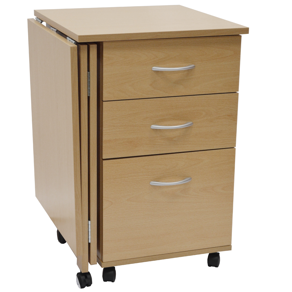 Flipp 3 drawer folding office storage filing desk for Bureau table