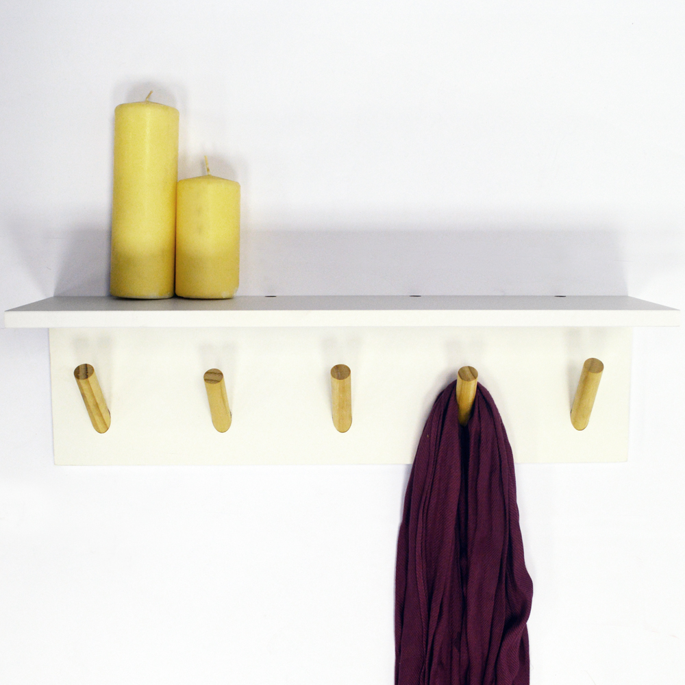 Darwin Floating 2ft 60cm Wall Shelf With 5 Coat Hooks Bathroom Storage White Natural