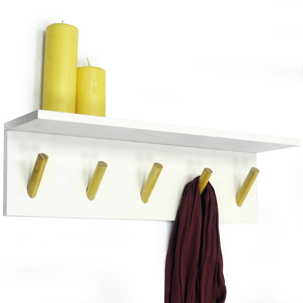 Darwin Floating 2ft 60cm Wall Shelf With 5 Coat Hooks