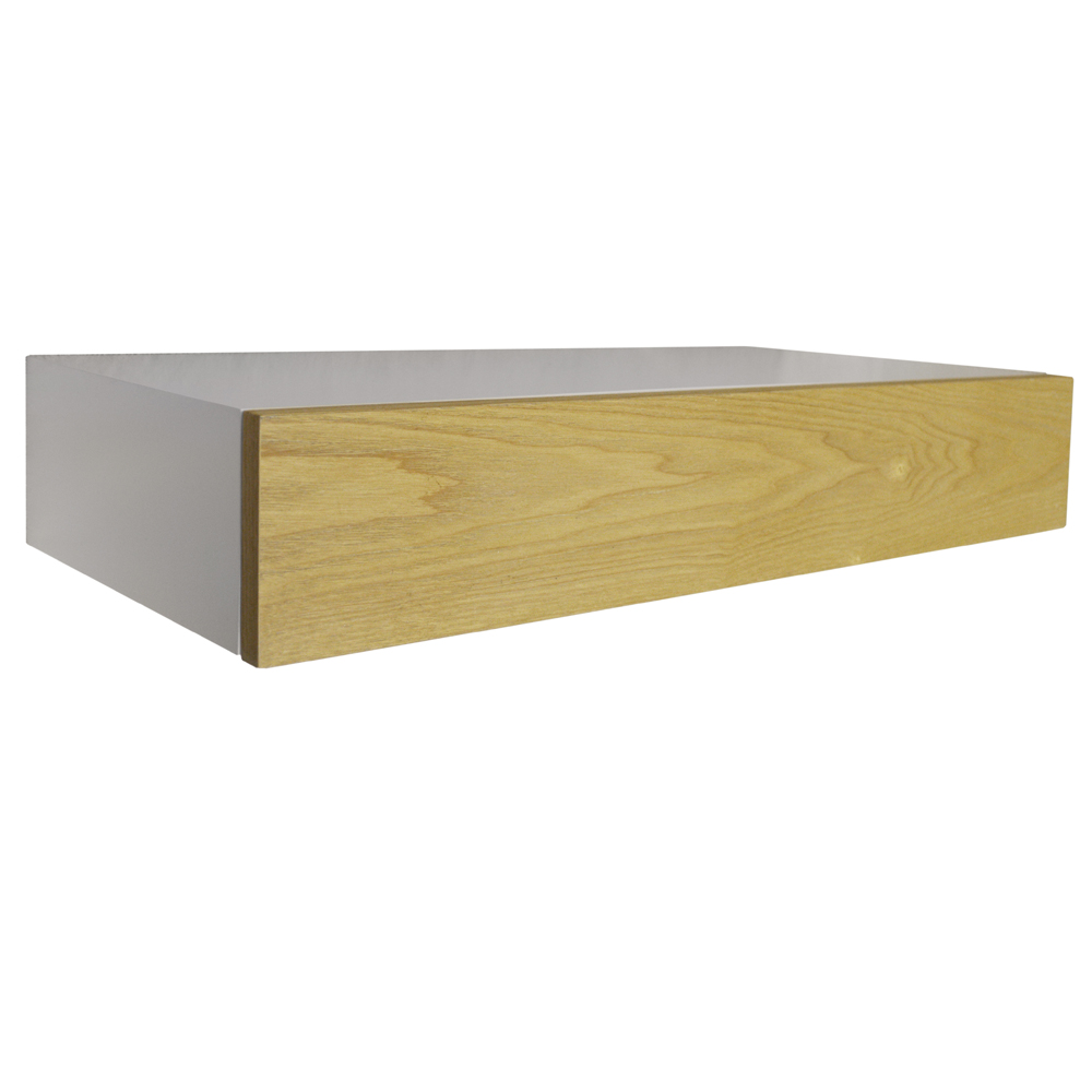 hidden 2ft 60cm floating storage shelf with drawer white ash watson 39 s on the web