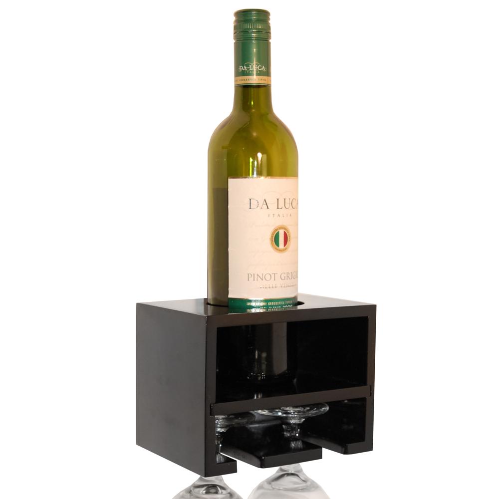 Merlot Wall Mounted Floating Wine Bottle 2 Glass Rack