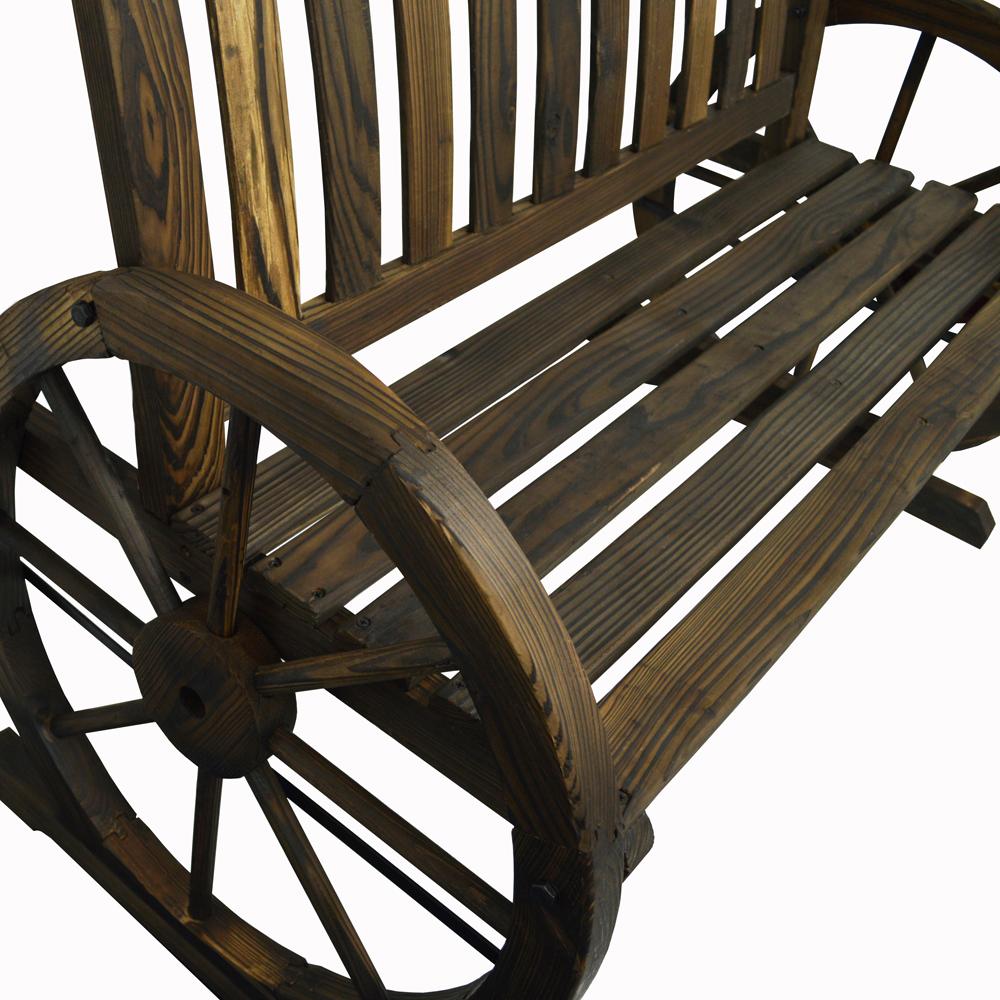 Garden Cartwheel Bench 2 Seater Outdoor Solid Wood