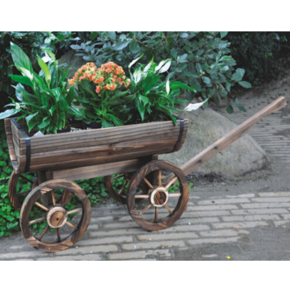 Cart Solid Wood Rustic Garden Flower Planter Pot